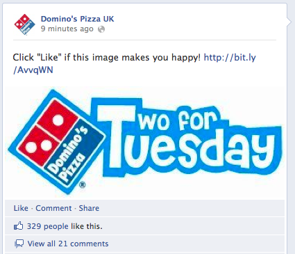 Domino's Pizza no Facebook