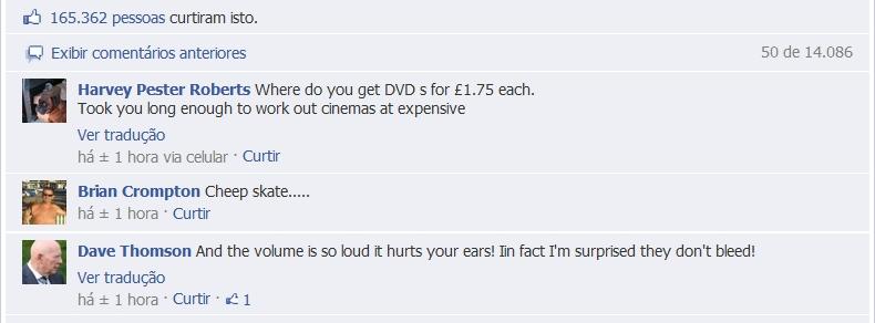Comentários contra os cinemas ODEON
