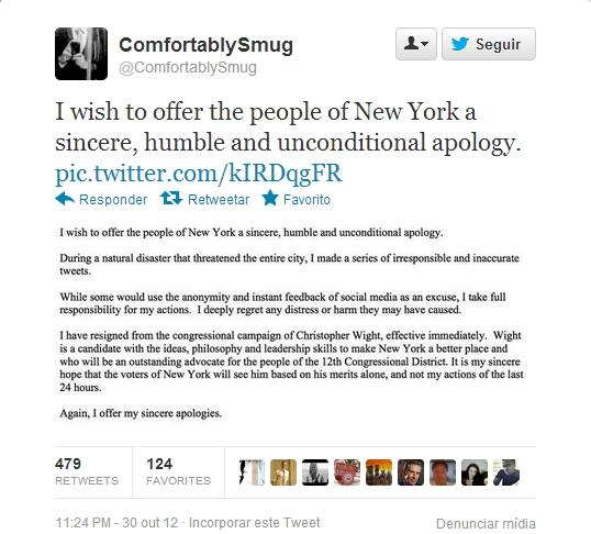 Sandy: consultor político tuitou sem checar e perdeu o emprego