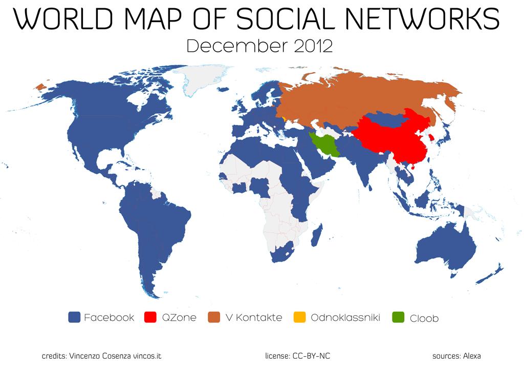 Mapa Mundial das Redes Sociais - dezembro 2012