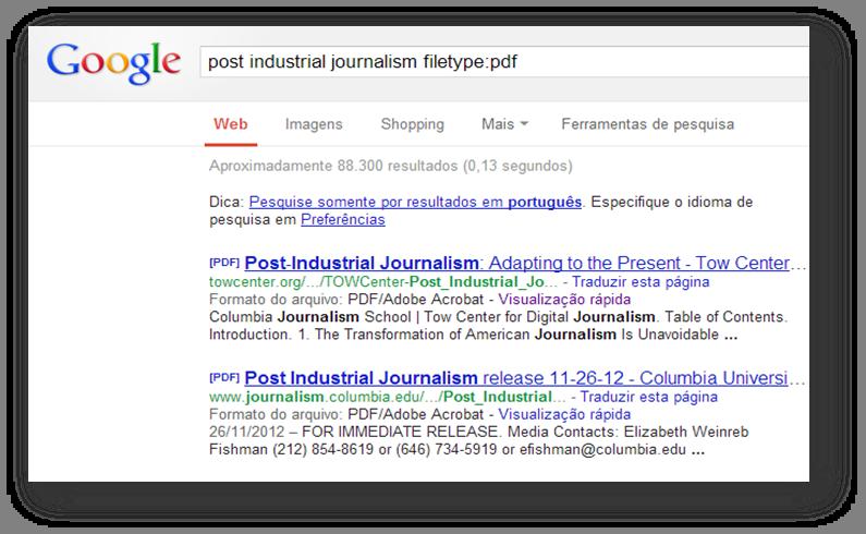 Busca do Google - operador filetype - Tracto