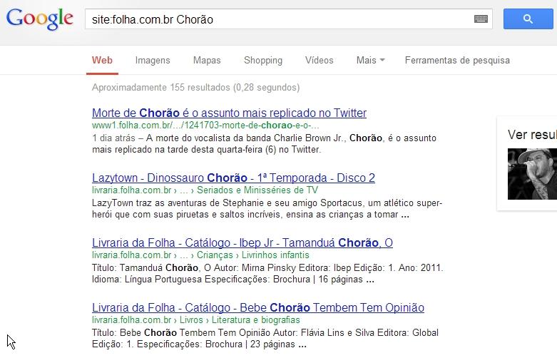 Busca do Google - operador site - Tracto