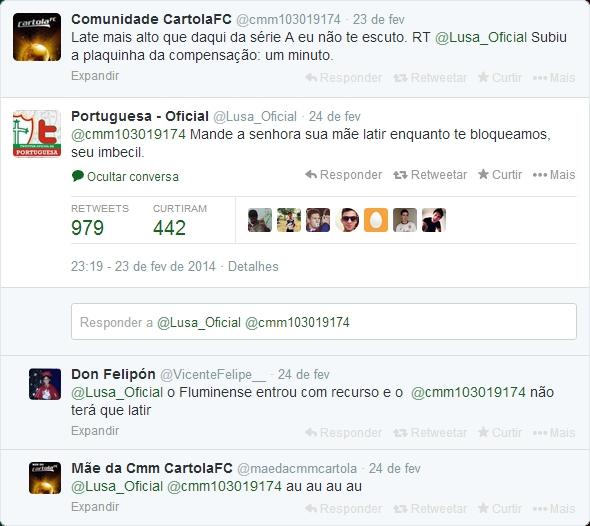 Twitter da Portuguesa xingando usuario do Cartola FC