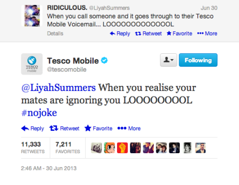 Case Tesco Mobile zoando usuarios no Twitter