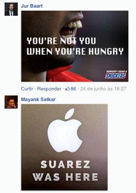 Snickers brinca com mordida de Suarez em Chiellini - fan page