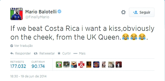 Primeira fase da Copa no Twitter - tuite do Balotelli