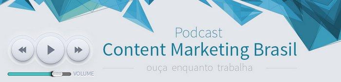 Testeira Podcast Content Marketing Brasil em tons de azul - 700x170px