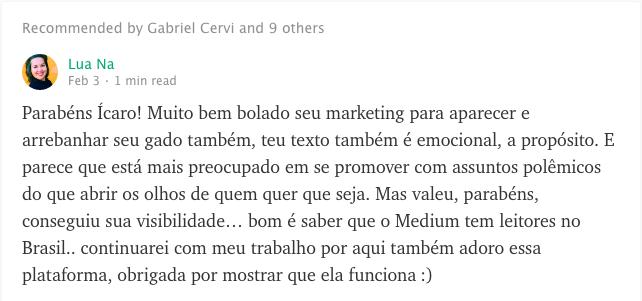 Texto de empreendedorismo no Medium - print de comentario (1)