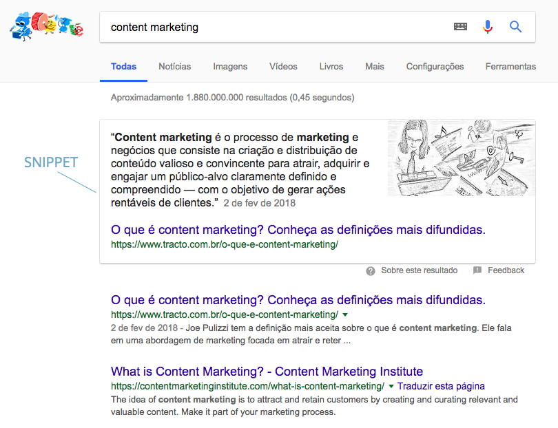snippet de content marketing da Tracto