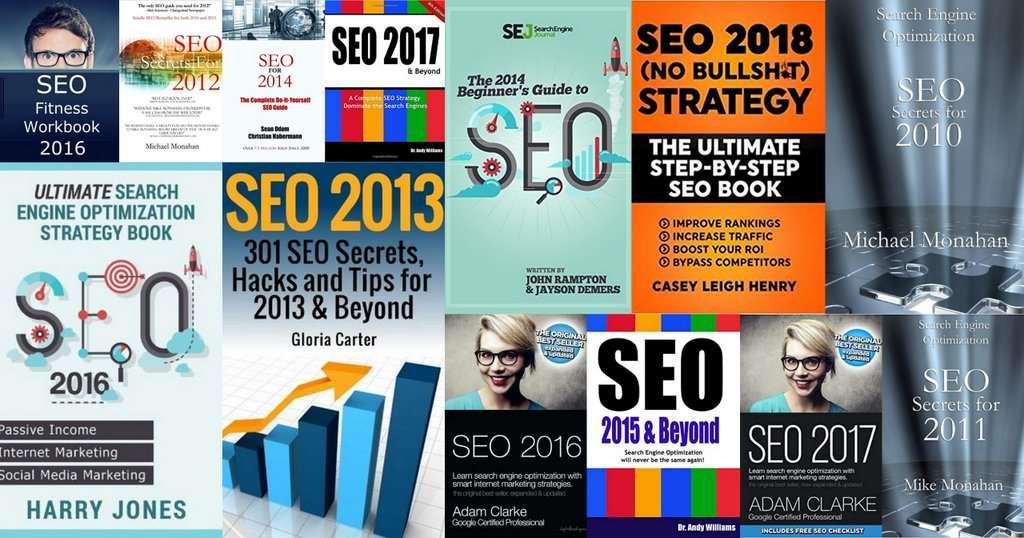 Capa de livros de SEO de 2010 a 2018