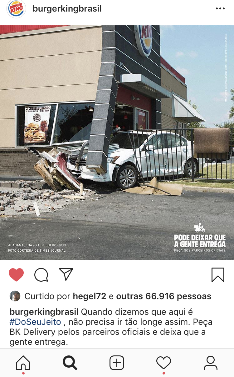 Eu ri desse post do Burger King no Instagram. E você