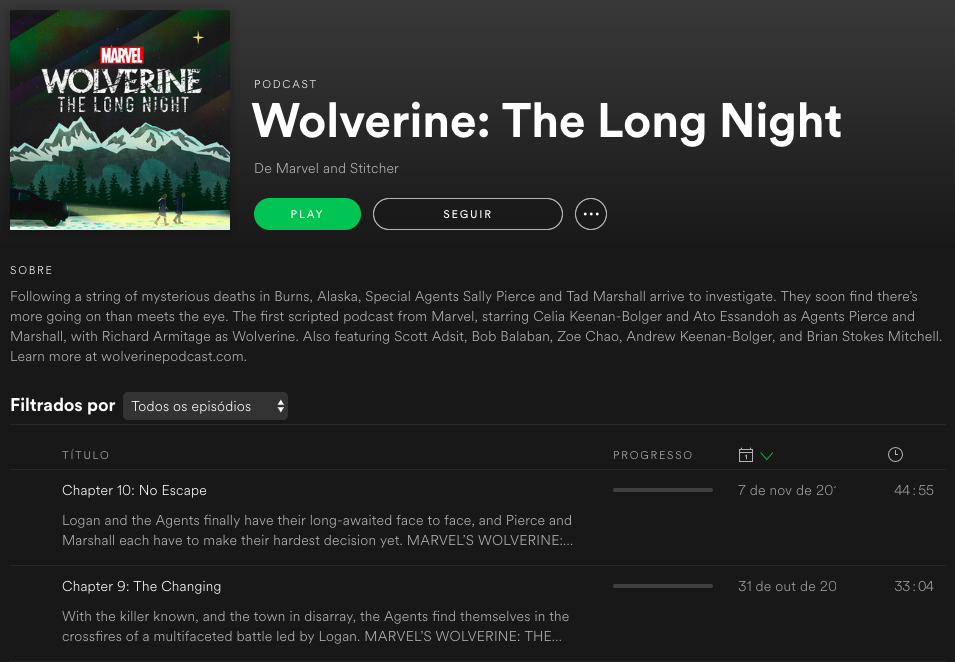 Podcast do Wolverine no Spotify